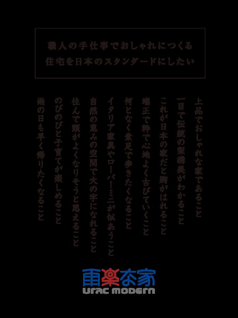 職人の手仕事でおしゃれにつくる 住宅を日本のスタンダードにしたい上品でおしゃれな家であること 一目で伝統の架構美がわかること これが日本の家だと胸がはれること 端正で粋で心地よく古びていくこと 何となく素足で歩きたくなること イタリア家具やローバーミニが似あうこと 自然の恵みの空間で大の字になれること 住んで頭がよくなりそうと思えること のびのびと子育てが楽しめること 雨の日も早く帰りたくなること 雨楽な家